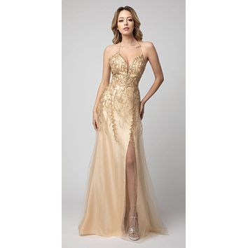 Lace-Up Back A-Line Long Prom Dress Gold with Slit