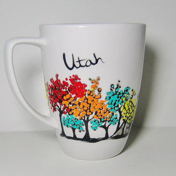 Long Distance Relationship Gift, His and Hers Couple's Mug set of 2, Romantic, Love, Unique Personalized One Of A Kind, Southern Utah cup