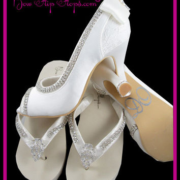 Bridal Heels and Flip Flop Set Ivory Wedding Shoes 3.5 inch Peep Toe Satin Starfish Lace Bow I DO Rhinestone Bling Custom Pumps Bride Gift
