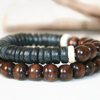 Coconut Bracelet, Bracelet Set, Wood Bracelet Set, Black Bracelet, Stack Bracelets, Stacking Bracelet, Men Jewelry, Gift for Him, Man Gift