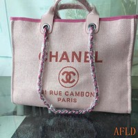 HCXX 19Aug 682 Fashion Canvas Embroidered Chain Tote Casual Large Shopper 37-30-18cm