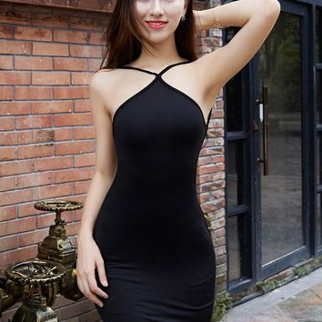 High elastic force Sleeveless halter Bodycon Straps Blackless Sexy Black Dress