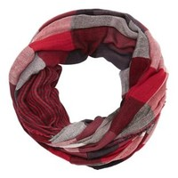 Red Combo Reversible Plaid Infinity Scarf by Charlotte Russe