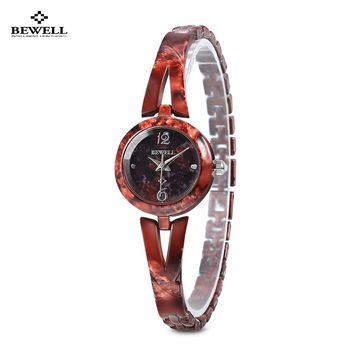 Original BEWELL ZS - W076A Top Brand Designer Women Artificial Jade Watch Quartz Watches For Female Analog Watch In Gift Box