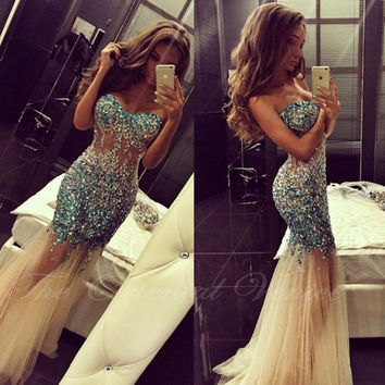 Sparkly Beaded Crystal Sweetheart Mermaid Prom Dresses Sheer Bodice Tulle Long Evening Dress with Stones Special Occasion Dress