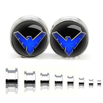 Night Wing stainless steel ear gauge, silvery tunnel plugs,Stainless Steel Screw Ear Gauges, Flesh Tunnels Plugs,plugs og tunnels