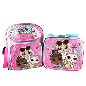 "LOL SURPRISE 12"" BACKPACK WITH COMPARTMENTS WITH MATCHING LOL SURPRISE LUNCH BOX BAG-BRAND NEW AND RARE FIND!"
