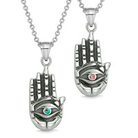 All Seeing and Feeling Buddha Eye Hand Love Couples or Best Friends Amulets Pink Green Pendant Necklaces