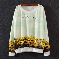 White Sunflower Bottom Print Loose Sweatshirt