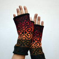 Colorful Wool Arm Warmers - Fingerless Gloves - Ref Tones Fingerless Gloves - Wool Fingerless Gloves - Long Fingerless Gloves nO 118.