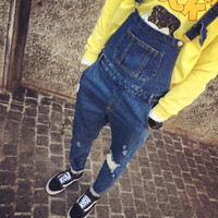 Fashion Mens Denim Bib Overalls Antique Wash Blue Suit Mens Pants Trousers Jeans