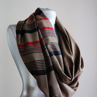 Handmade Striped Infinity Scarf - Wool - Brown Red Green - Winter Autumn Scarf - Men Unisex Scarf