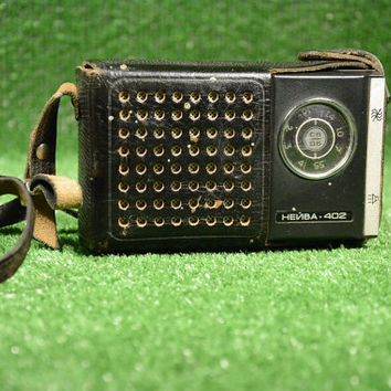 Vintage Black Pocket Transistor Radio Neywa 402 with Original Leather Case, Soviet Era Radio, Radio Receiver With Leather Case, WORKING