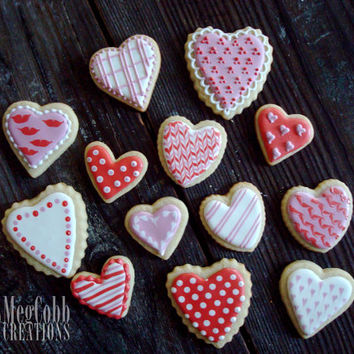 Valentine Heart Sugar Cookies, Valentine's Day Cookies, red, pink, white, polka dots, stripes, love, hearts, i love you, treats, cookie