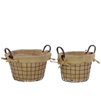 Metal Wire Basket Lined With Fabric With Metal Handles Set Of Two