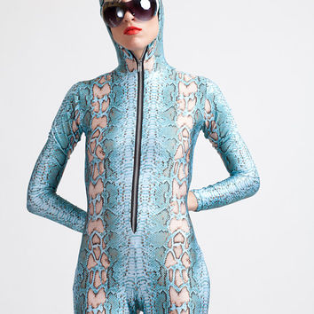 Be The Snake, Magical Mint Turquoise Snake Print Joyous Bodysuit Instant Costume