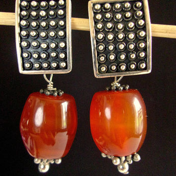 Carnelian Sterling Silver Dangle Earrings, Post, Silver Nodule Texture, Vintage