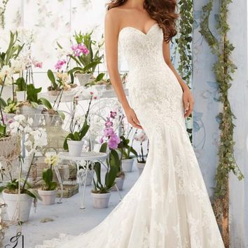 Blu by Mori Lee 5413 Strapless lace Fit & Flare Wedding Dress