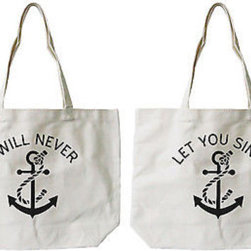 Women's Best Friend Anchor Matching BFF Natural Canvas Tote Bag for Friend