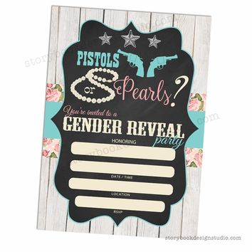 Pistols or Pearls Gender Reveal Fill In Invitations