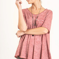 Mineral Washed Pocket Top {Rose} Extended Sizes