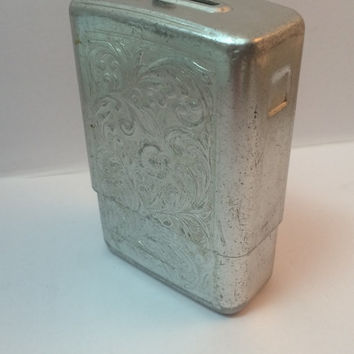 Vintage Aluminum Cigarette Storage Box Free US Shipping Engraved 1960s Park Industries Made in the USA Photo Studio Prop Staging Tobacciana