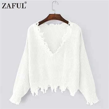 ZAFUL Autumn Women Sweaters One Size Ripped V Neck Loose Sweater Ladies Autumn Winter Bottom Black Tassel Pullovers Sweaters
