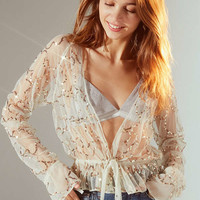 UO Stevie Sheer Sequin Tie-Front Top | Urban Outfitters