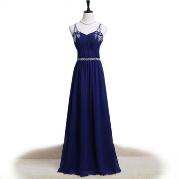 Dress V-neck elegant long evening gowns sequins beading spaghetti straps a line dress for wedding party