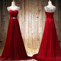 Red Prom dress zipper up back Wedding Party Dress evening dress Long Prom Dresses Ball Gown,formal dress,Long bridesmaid dress