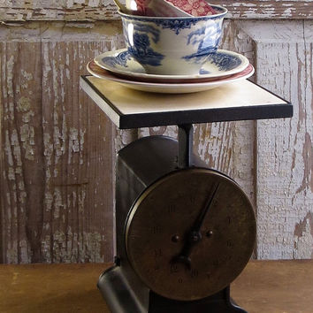 Vintage Kitchen Scale, General Store Advertising Weighing Tool, Industrial, Brass Face, Black Base, Rustic Kitchen Farmhouse Decor