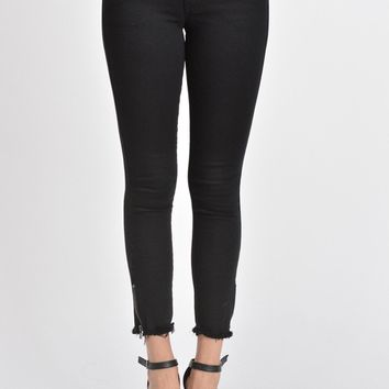 Black Zip Ankle Frayed Skinny Jeans