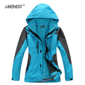 Outdoor Winter Thicken Windproof Jackets with Thermal Fleece Liner for Women Slim Waterproof Hooded Coat Hiking Climbing Skiing