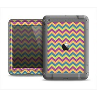 The Retro Colored Green & Purple Chevron Pattern Apple iPad Air LifeProof Nuud Case Skin Set