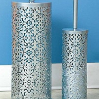 Toilet Paper Holder & Brush Set Decorative Metal Scroll Silver Gray Storage