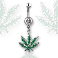 Pot Leaf Belly Ring Green Leaf Navel Ring Surgical Steel Body Jewelry 14ga