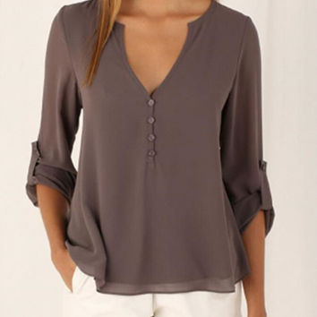 womens autumn winter chiffon V-neck shirts casual comfortable loose top gift 140