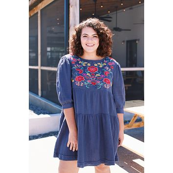 Ivy Gauze Embroidered Dress, Navy | Plus Size