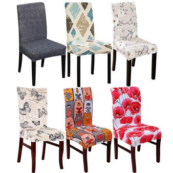 Spandex Elastic Butterfly Printing Chair protector Slipcover Kitchen Dining Chair Cover Removable Dustproof Decorative Seat Case