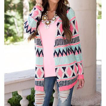 FASHION PRINTED SHAWL CARDIGAN LONG-SLEEVED JACKET