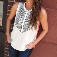 Cream & Coral Embroidered Tunic | The Rage