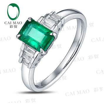Free shipping CaiMao 1.03 ct Natural Emerald 14KT/585 White Gold  0.22 ct Baguette Diamond Engagement Ring Jewelry Gemstone