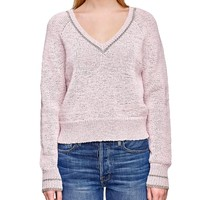 Tipped Raglan V-Neck Sweater