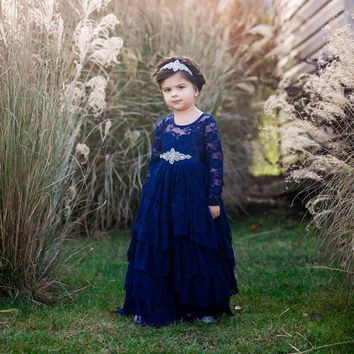 Coralee Navy Blue Long Sleeve Lace Layers Ruffle Skirt Lace Gown Dress with Sash