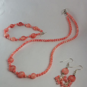 Pink Coral Jewlery Set, Pink Salmon Angel Skin Coral with Silver Details made in a Necklace, Bracelet and Earrings