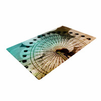 """Sylvia Coomes """"Ferris Wheel Silhouette"""" Beige Teal Woven Area Rug"""