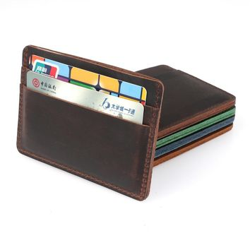 Men Credit ID Card Holders Vintage Design Crazy Horse Leather Customized Business Unisex Wallet