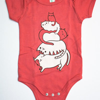 Cat Baby Onesuit – Infant Bodysuit Cute Newborn Gift – Organic Cotton Baby Clothing