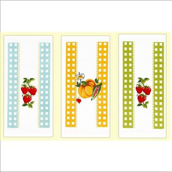 Set of 3 Vintage Style Flour Sack Kitchen Towels. Strawberries & Pumpkin. Green, Orange & Blue