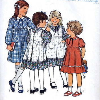 "Child's Dress And Pinafore - Peter Pan Collar - Prairie Dress - Vintage Sewing Pattern - Style 2548 - Child Size 23"" Breast"